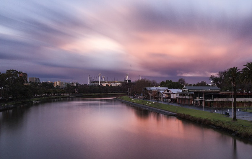 sunset on the Yarra river