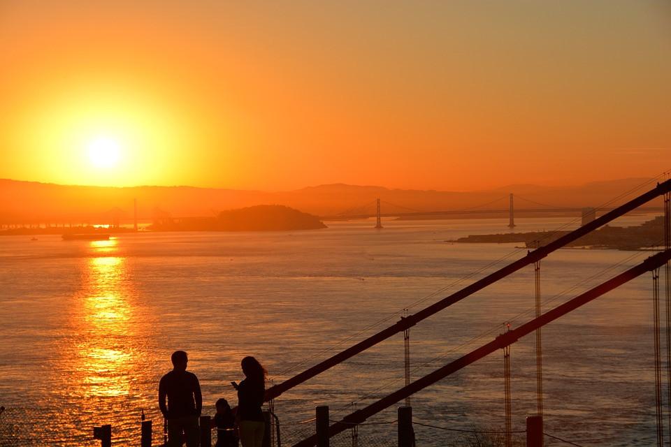 San Francisco Bay beautiful Sunset, Couple