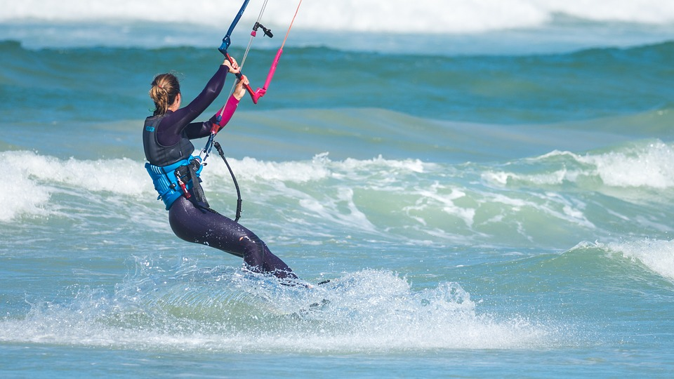 kite surfer on south african beach