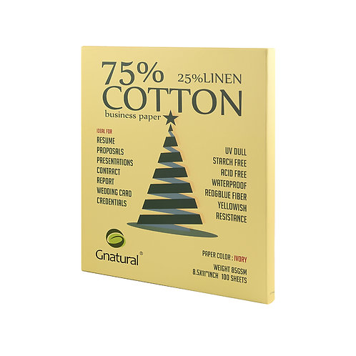 85gsm 75/25 cotton & linen paper (ivory yellow)-No.GLYYT042