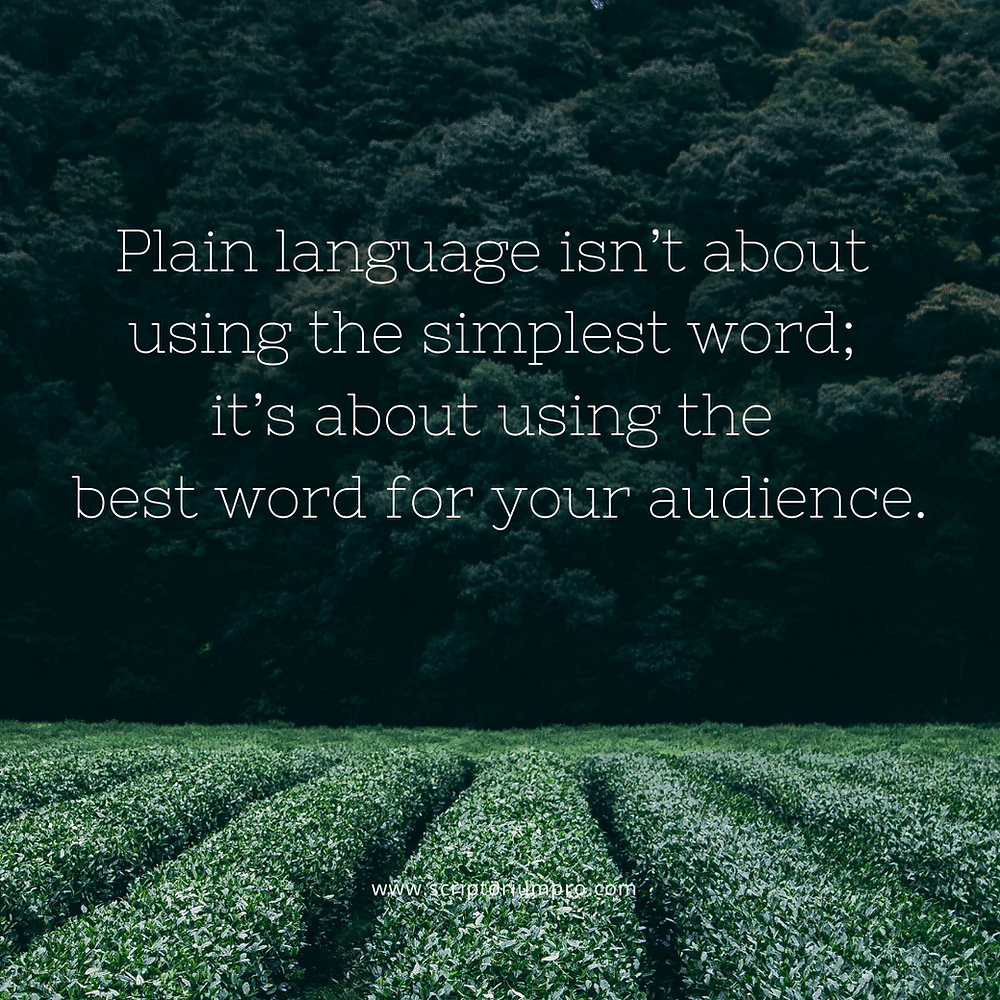 Grassy field with text overlaid: Plain language isn't about using the simplest word; it's about using the best word for your audience.