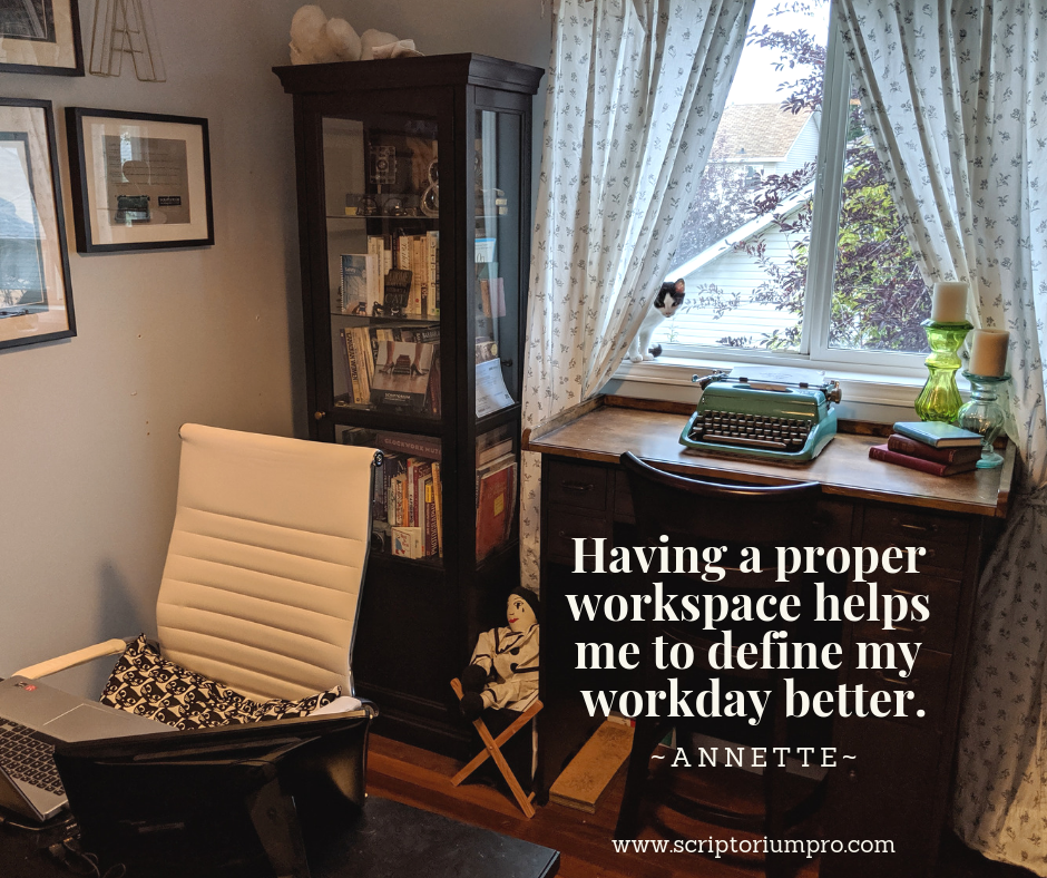 """Quote """"Having a proper workspace helps me to define my workday better. """" overlays an image of an office with a talk bookshelf and desk in the window with a black and white kitten peering out from behind the curtain."""