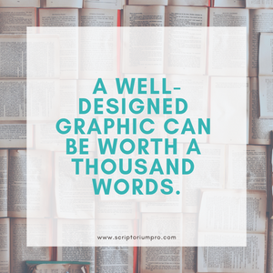 Background of open books. Quote: A well-designed graphic can be worth a thousand words. ""