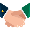 Shaking hands icon between management and staff