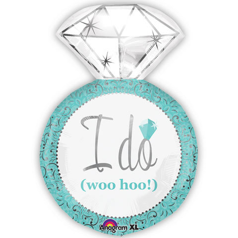 "30"" Blue Wedding Diamond Ring ""I DO"" Wedding Helium Balloon - lv08"