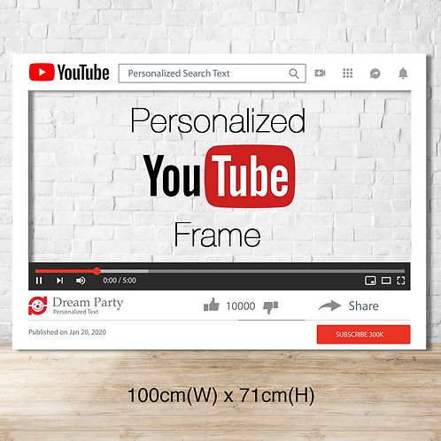 Personalized YouTube Frame - Medium size