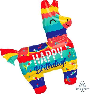 "40"" Stripes Pattern Pinata Horse HBD Helium Balloon - hb64"