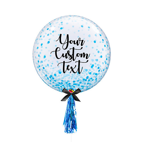 "24"" Personalise Crystal Clear Transparent Confetti Dots Printed Balloon - Blue"