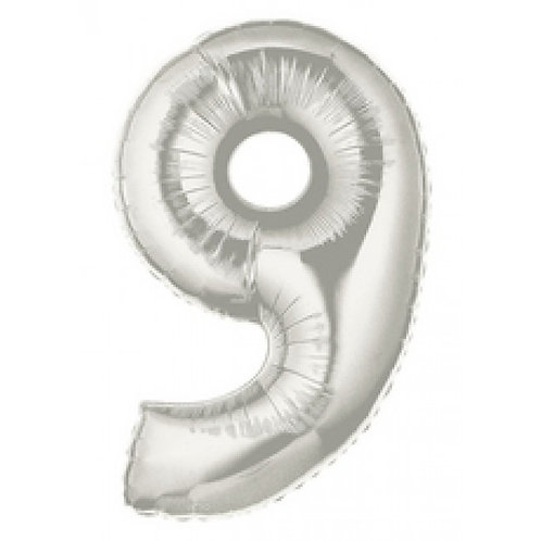 """40"""" Silver Number Helium Balloon 9 - 40S9"""