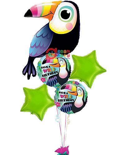Safari Theme with Cute Toucan Helium Balloon Bouquet - bq59