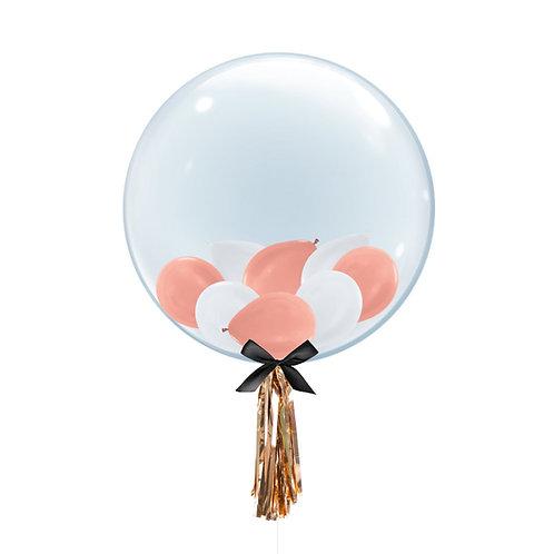 "24"" Crystal Clear Transparent Balloon - Mini Metallic Balloons Filled"