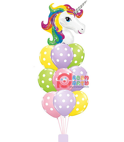 Unicorn with 9 Latex Balloon Helium Balloon Bouquet - bq10