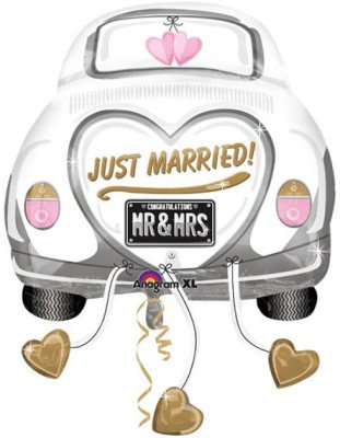 """40"""" White Car Named """"Just Married"""" Wedding Helium Balloon - lv04"""