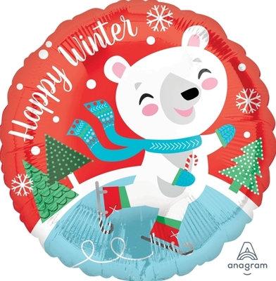 "18"" White Bear Happy Winter Christmas Helium Balloon - x31"