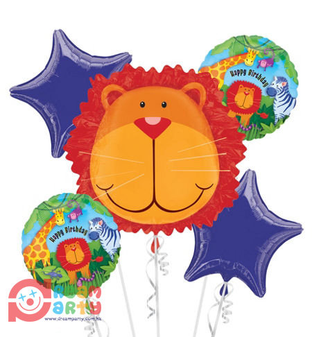 Safari Theme with Lion Head Helium Balloon Bouquet - bq01
