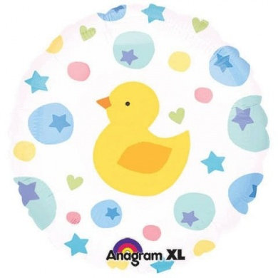 "18"" Baby Duck Star & Heart Pattern Helium Balloon - bb36"