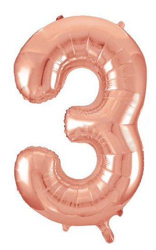 "40"" Rose Gold Number Helium Number 3 - 40RG3"