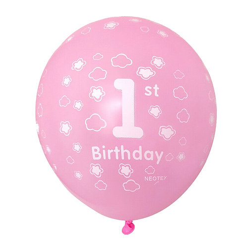 "11"" Pink 1st Bday Pattern Latex Balloon"