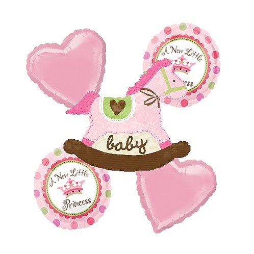 Baby Girl Theme with Pink Rocking Horse Helium Balloon Bouquet - bq21
