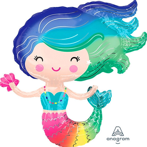 "40"" Cute Mermaid & Shell Rainbow Colour Helium Balloon - y110"