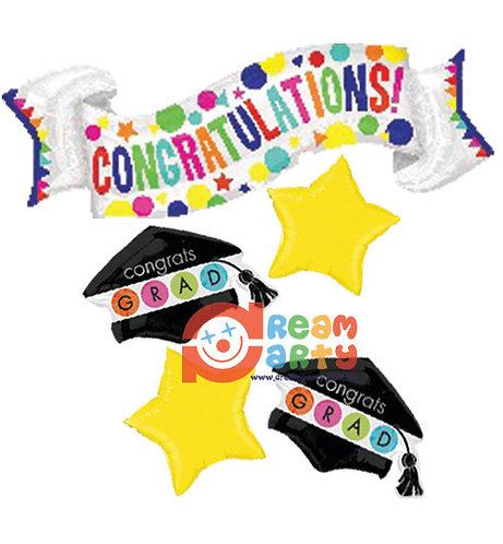 Congratulation Banner Graduation Helium Balloon Bouquet - bq41