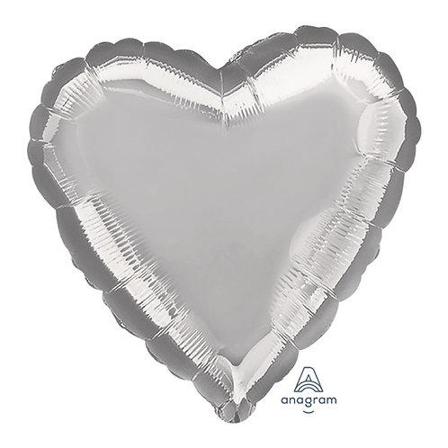 "18"" Heart Foil Balloon - Metallic Silver"