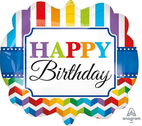 "40"" Rainbow Colour Stripes & Zigzag Pattern HBD Badge Helium Balloon - hb31"