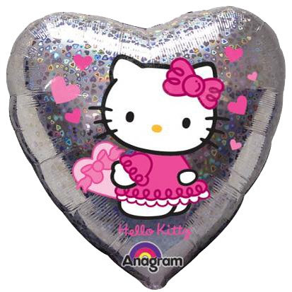 "18"" Heart Shape Silver Hello Kitty Helium Balloon - k14"
