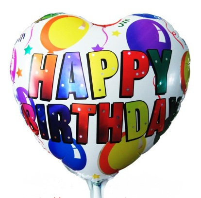 "18"" Heart Shape Colourful HBD Helium Balloon - hb27"