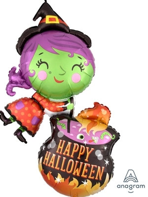 """40"""" Witch and Terrible Soup Happy Halloween Helium Balloon - hw15"""