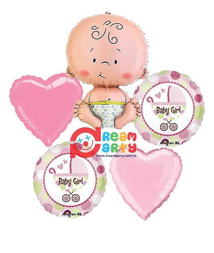Baby Girl Helium Balloon Bouquet - bq24