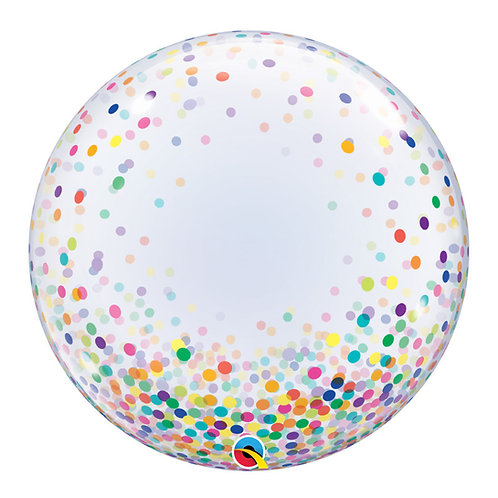 "24"" Crystal Clear Transparent Confetti Dots Printed Balloon - Colorful Confetti"