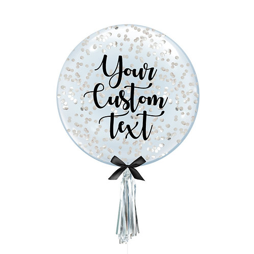 """24"""" Personalise Crystal Clear Transparent Balloon - Round Confetti Filled"""