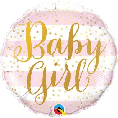 "18"" Baby Girl Pink Stripes & Gold Dots Pattern Helium Balloon - bb72"