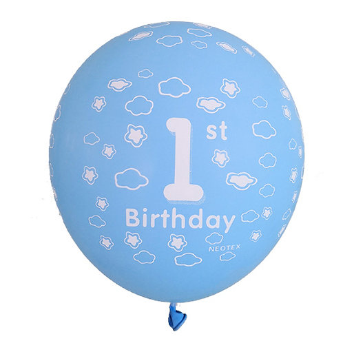 "11"" Light Blue 1st Bday Pattern Latex Balloon"
