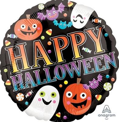 """18"""" Ghosts & Pumpkins Happy Halloween Helium Balloon - hw29"""