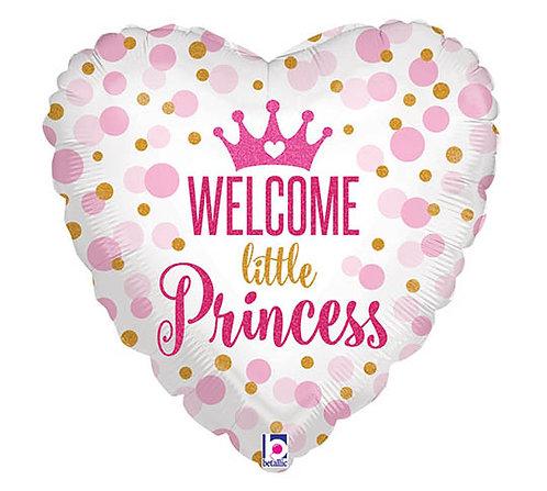"18"" Baby Princess Dots Pattern Heart Shape Helium Balloon - bb62"