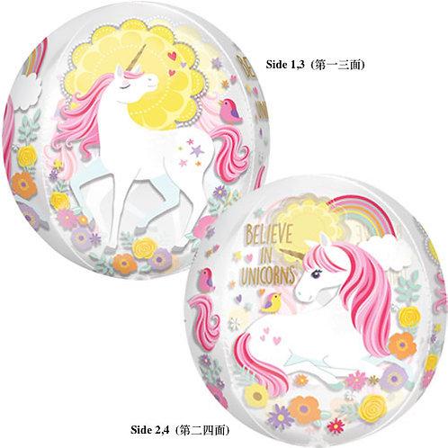 "16"" Sphere Shape Transparant Unicorn Helium Balloon - z52"