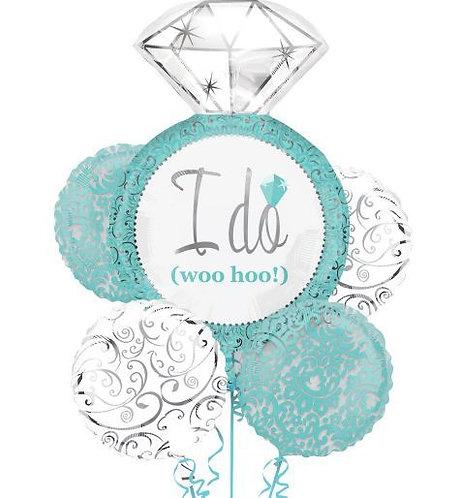 "30"" Blue Wedding Diamond Ring ""I DO"" Wedding Helium Balloon Bouquet - lv09"