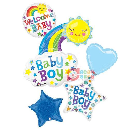 Baby Boy Theme with Rainbow Helium Balloon Bouquet - bq51