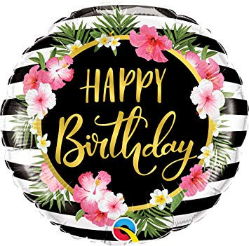"""18"""" Black & White Stripes with Flowers HBD Helium Balloon - hb71"""
