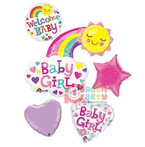 Baby Girl Theme with Rainbow Helium Balloon Bouquet - bq52