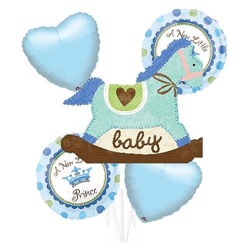 Baby Boy Theme with Blue Rocking Horse Helium Balloon Bouquet - bq22