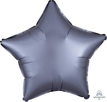 "19"" Satin Luxe Star Foil Balloon - Pastel Graphite"
