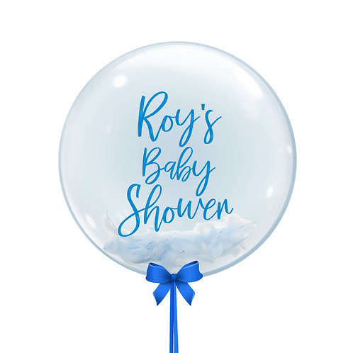 """24"""" Personalise Baby Boy Theme Crystal Clear Balloon - Feather Filled"""