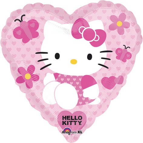 "18"" Heart Shape Heart Pattern Hello Kitty Helium Balloon - k15"