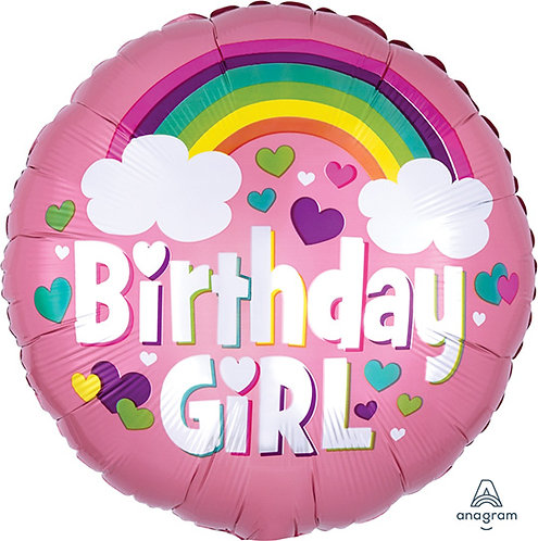 "18"" Pink & Heart Pattern Rainbow Birthday Girl Helium Balloon - hb75"