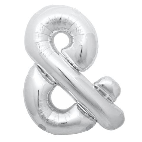 """14"""" Silver Symbol Balloon & - 14S&"""
