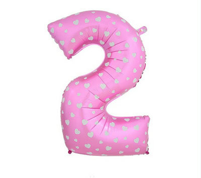 """40"""" Pink Colour Heart Pattern Number Helium Balloon 2 - 40P2"""