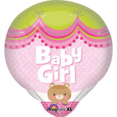 "18"" Baby Girl Hot Air Balloon Shape Helium Balloon - bb31"